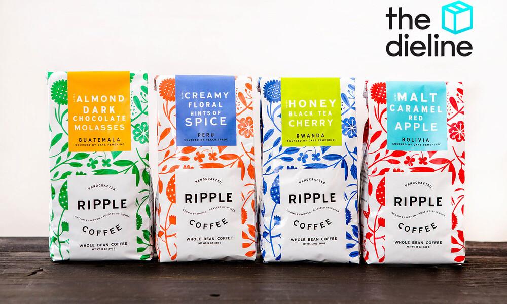 Ripple coffee bag package design dieline 2x