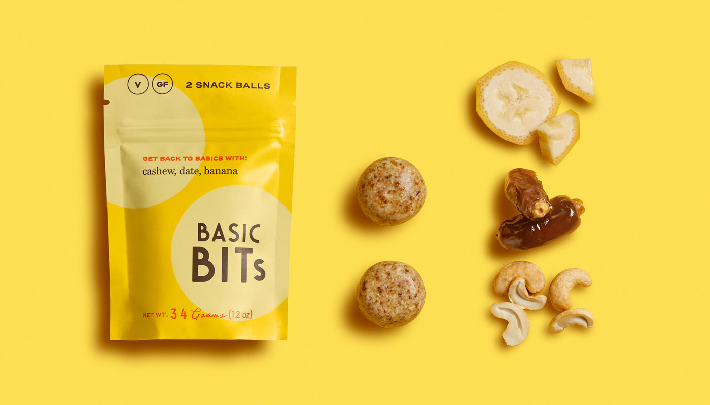 Basic bits snack balls packaging design hm