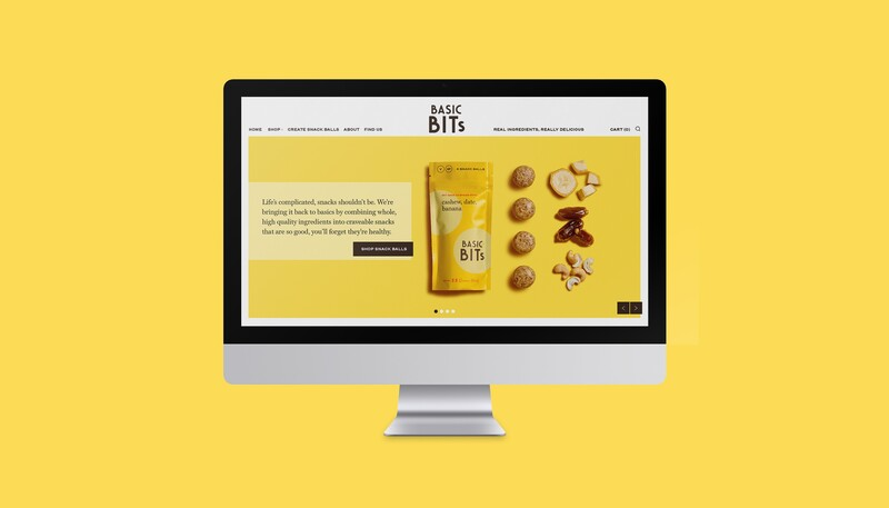 Basic bits snack ball brand identity food packaging design website 20