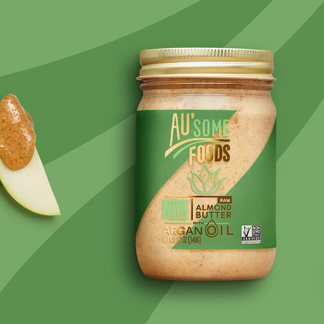Ausome foods almond butter packaging design18 sq crop