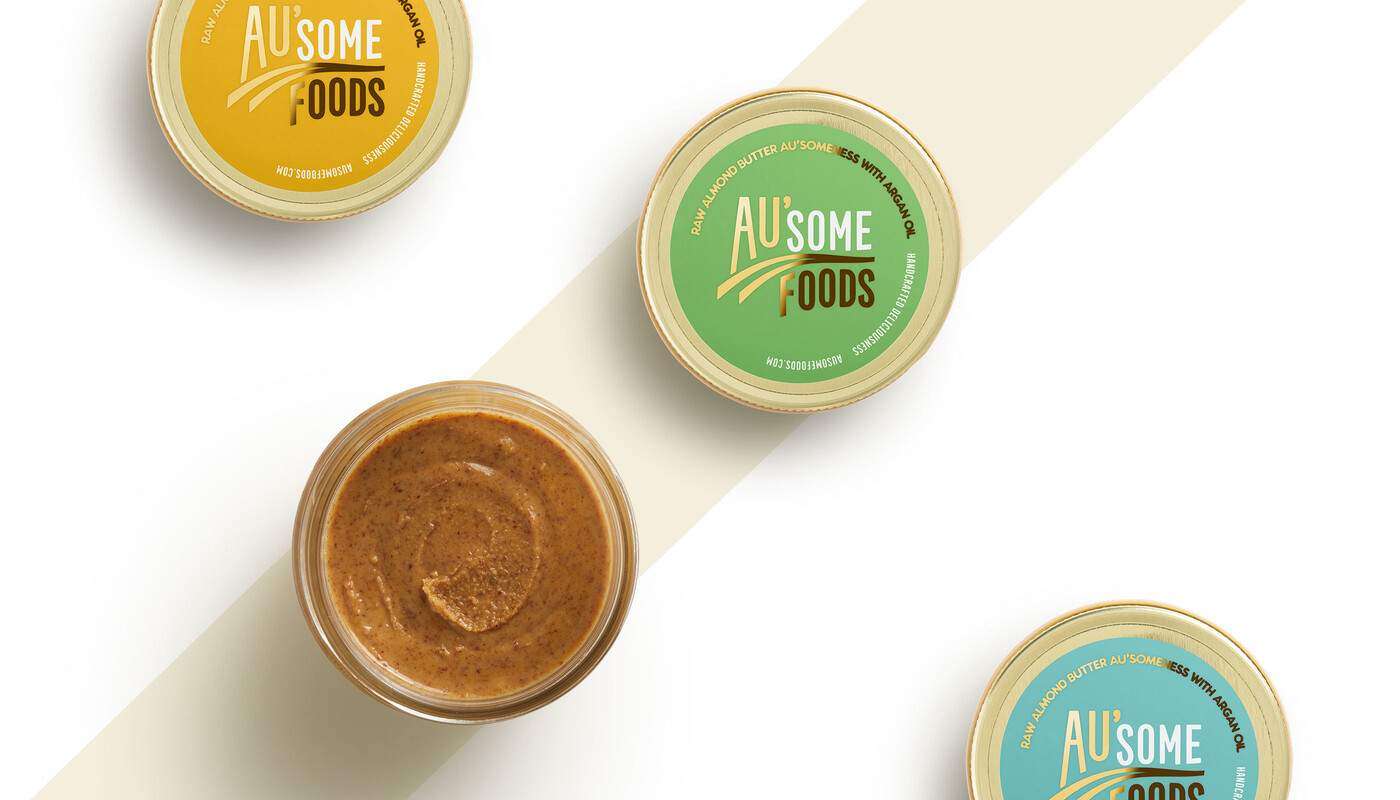 Ausome foods almond butter packaging design12