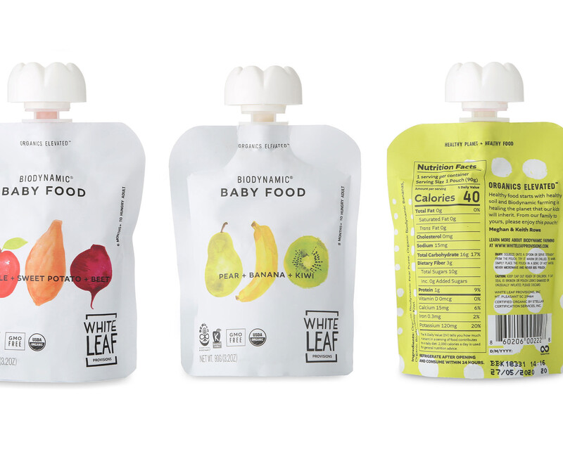 White leaf baby food packaging design brand identity2