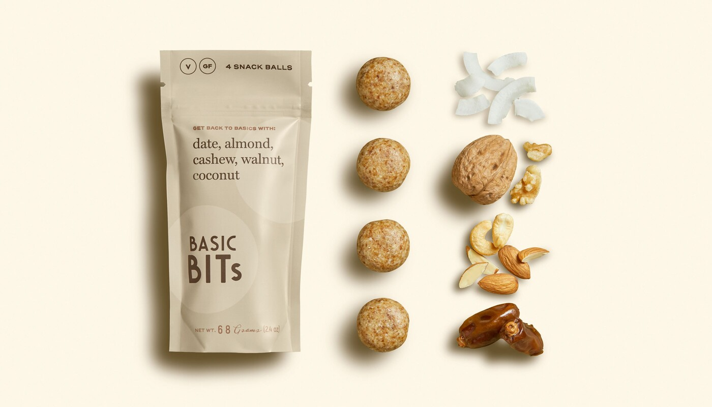 Basic bits snack ball brand identity food packaging design3